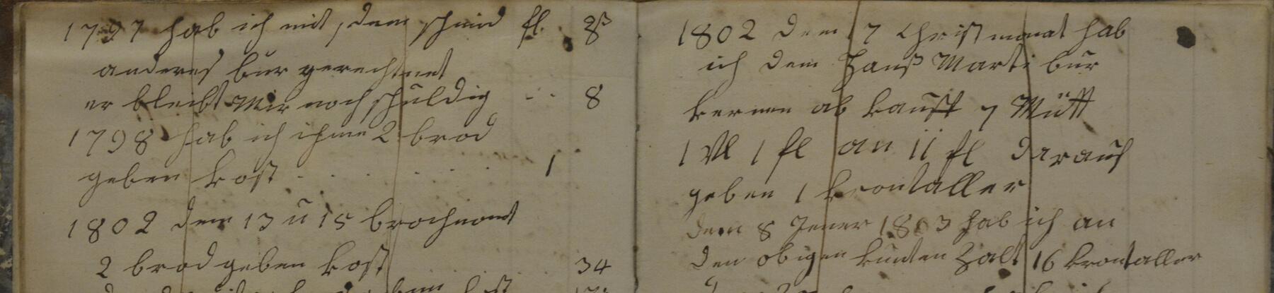 Auszug Rechnungsbuch 18. Jahrhundert